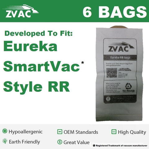 Eureka Style RR Replacement Vacuum Cleaner Bags Fits All Bagged Smart Vac Upright, similar to Eureka #61115, 61115A, 61115B & Fits All Bagged Smart Vac Uprights In The 4800 Series By ZVac Only From GoVacuum - ZVac