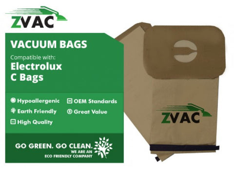 Electrolux Upright MIcroFiltration Single Wall 4-Ply Vacuum Cleaner Bags Style C; Fits Aerus, Epic, Prolux, Discovery, Genesis, Lux Vacuum Cleaners, Fits all Electrolux uprights made since 1986, by ZVac - ZVac