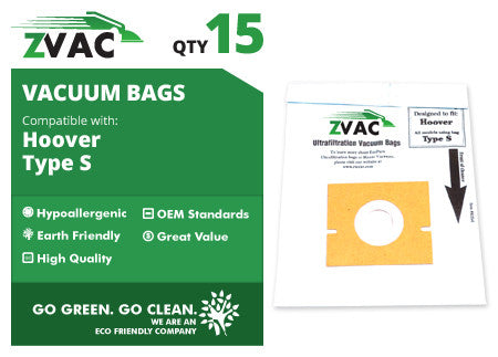 Hoover Type S Canister Vacuum Bags (15 pack) by ZVac - ZVac