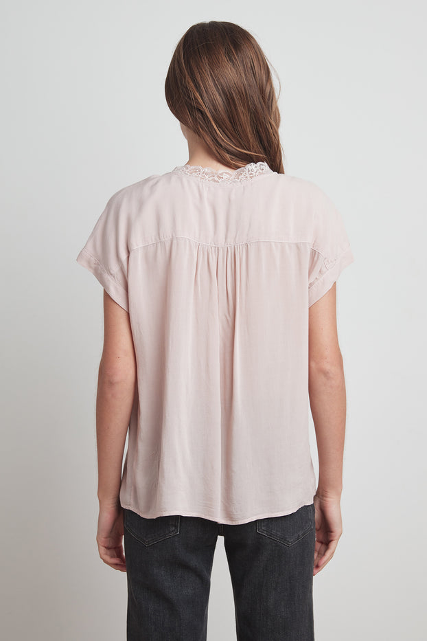 Velvet- Lace Detail Short Sleeve Top