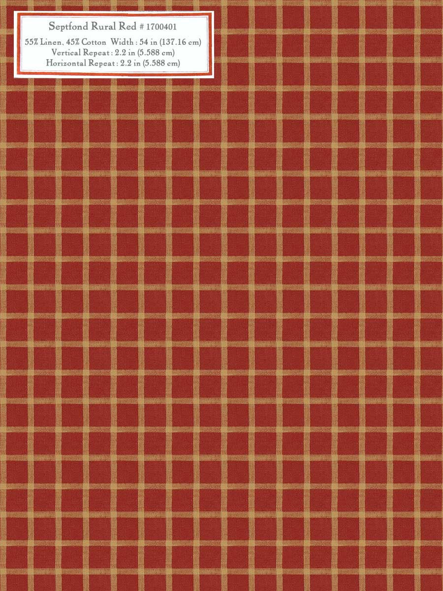 Home Decorative Fabric - Septfond Rural Red