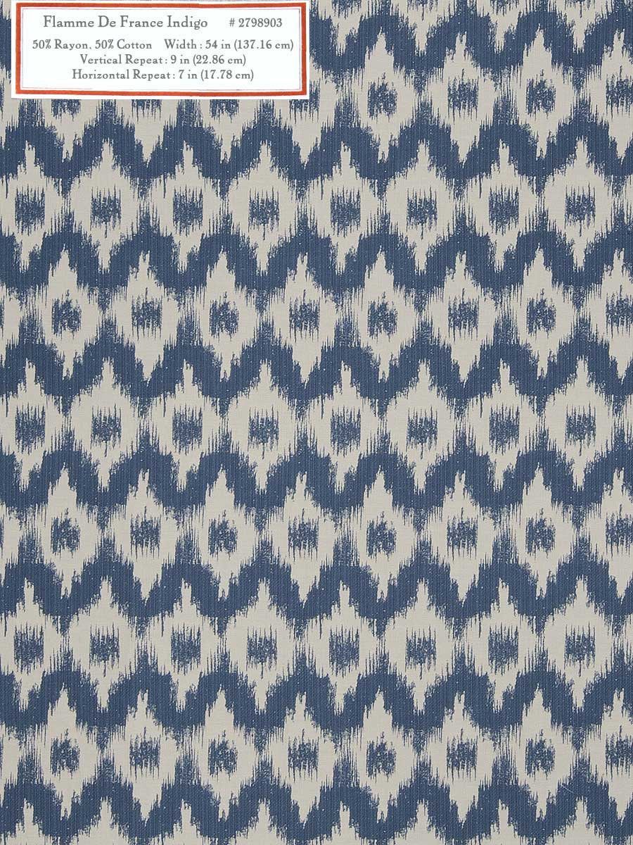 Home Decorative Fabric - Flamme De France Indigo