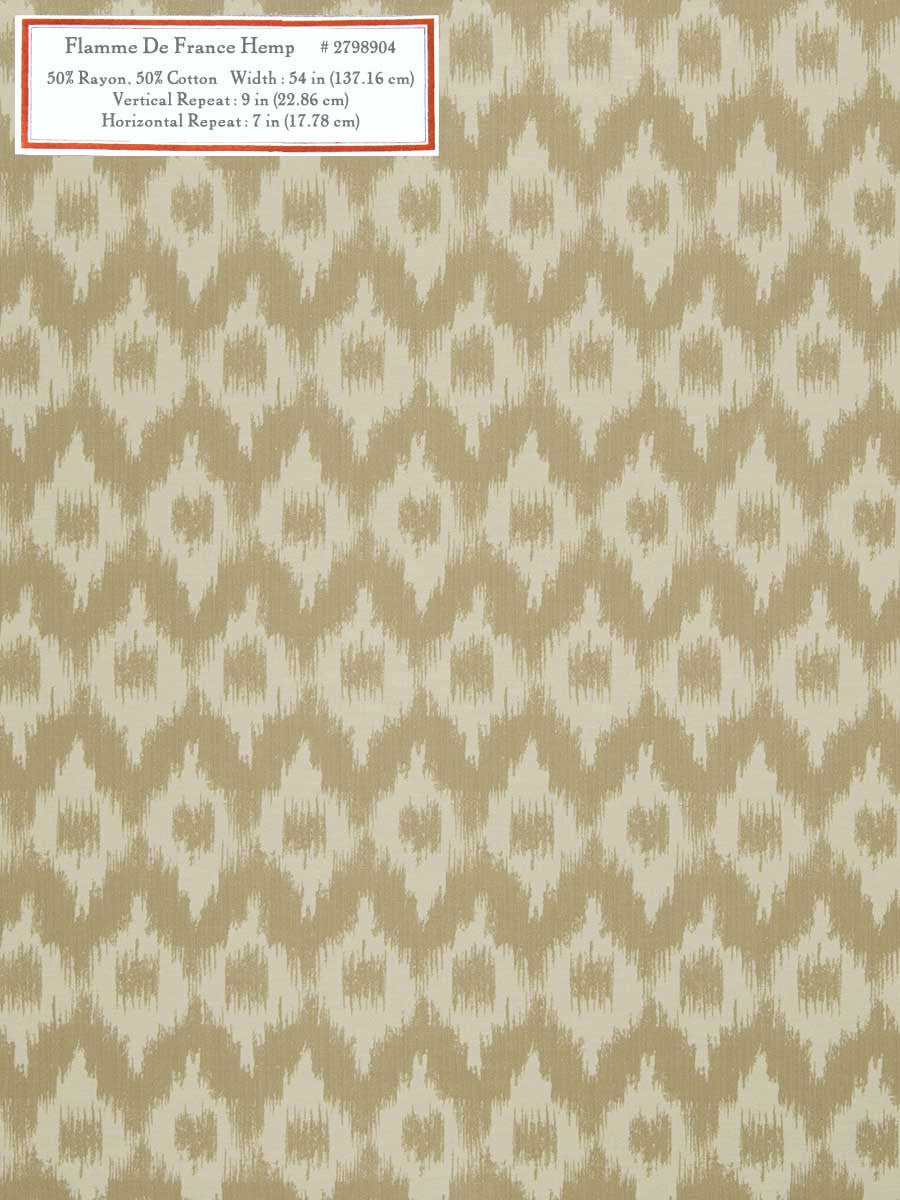 Home Decorative Fabric - Flamme De France Hemp