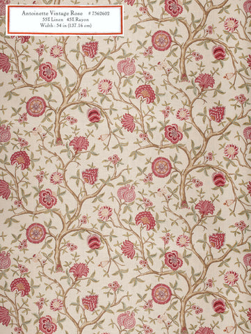 Home Decorative Fabric   Antoinette Vintage Rose