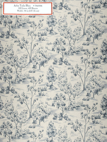 Home Decorative Fabric - Arbe Toile Bleu