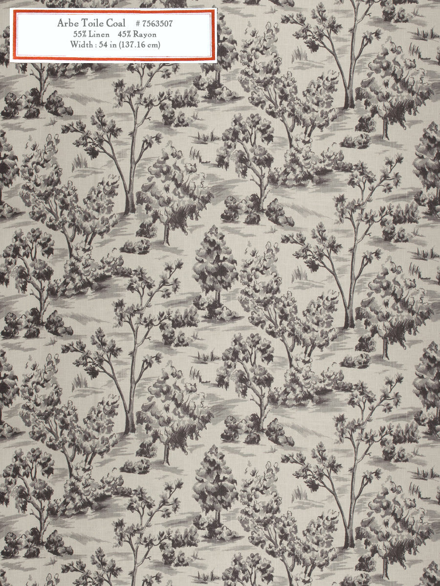 Home Decorative Fabric - Arbe Toile Coal