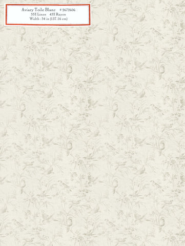 Home Decorative Fabric - Aviary Toile Blanc