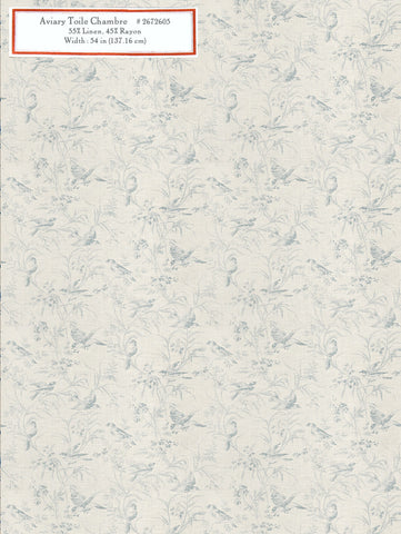 Home Decorative Fabric - Aviary Toile Chambray