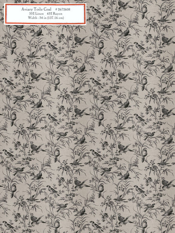 Home Decorative Fabric - Aviary Toile Coal