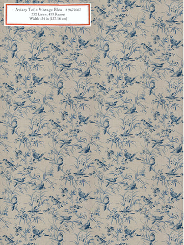Home Decorative Fabric - Aviary Toile Vintage Bleu