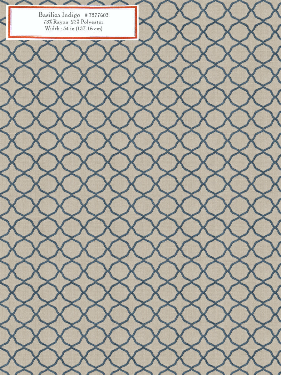 Home Decorative Fabric -Basilica Indigo