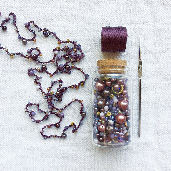 Beaded Crochet Necklace Kit French General