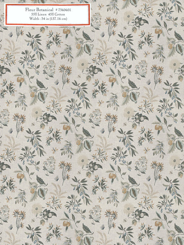 Home Decorative Fabric - Fleur Botanical La Mer
