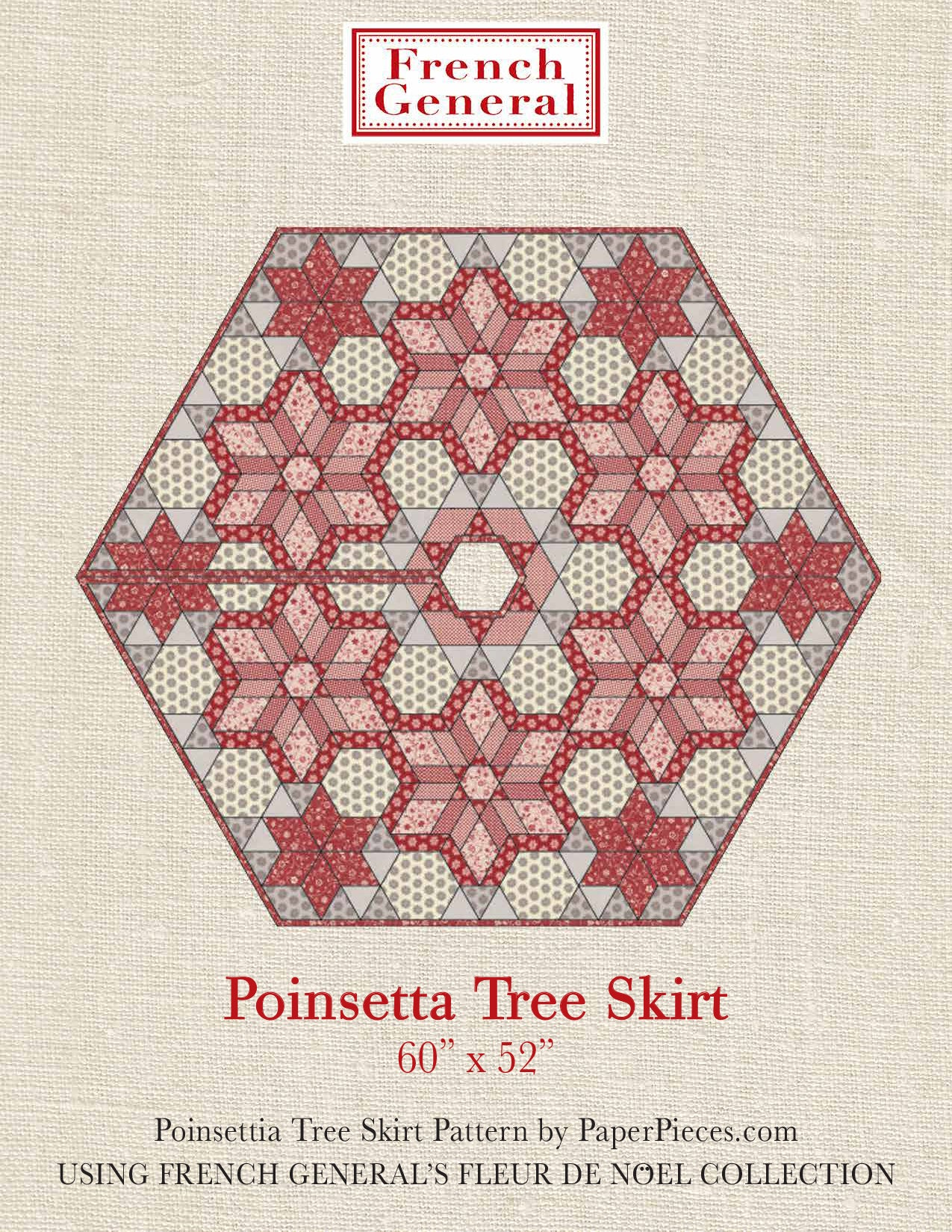 Moda French General - Poinsettia Tree Skirt Pattern