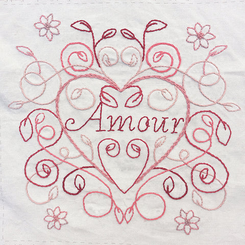 Amour Heart Embroidery Sampler