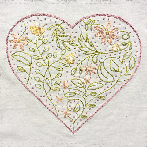 Botanical Heart Embroidery Sampler