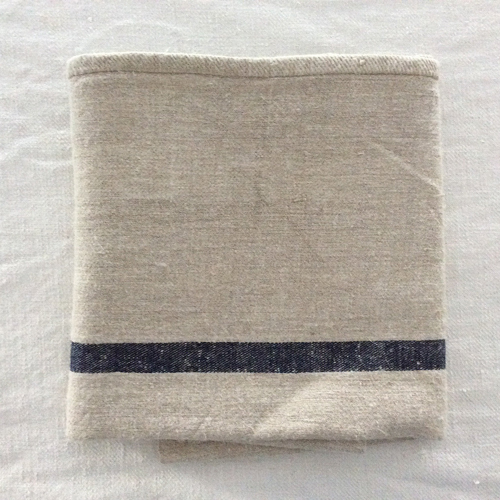 Hemp Torchon with Indigo Stripe
