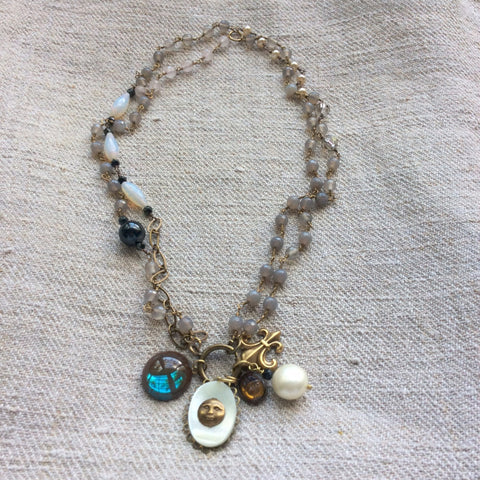 Grey Moonstone Necklace Kit