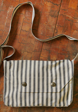 Blue Striped Ticking Bag