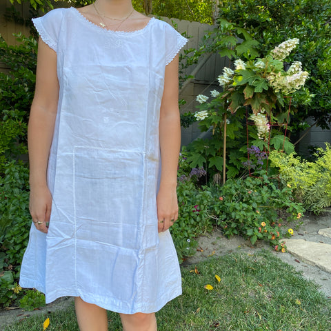 Antique French Linen Chemise - JB Monogram