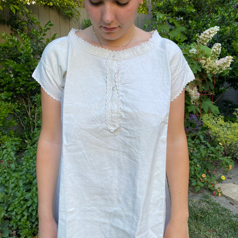 Antique French Linen Chemise - Scalloped Collar