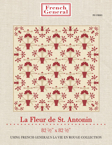 Moda French General La Vie En Rouge LA FLEUR DE ST ANTONIN Quilt Pattern