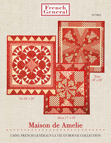 Moda French General La Vie En Rouge AMELIE Quilt Pattern