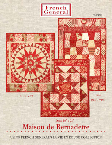 Moda French General La Vie En Rouge BERNADETTE Quilt Pattern