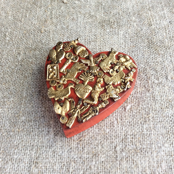 Milagro Wooden Heart - Red