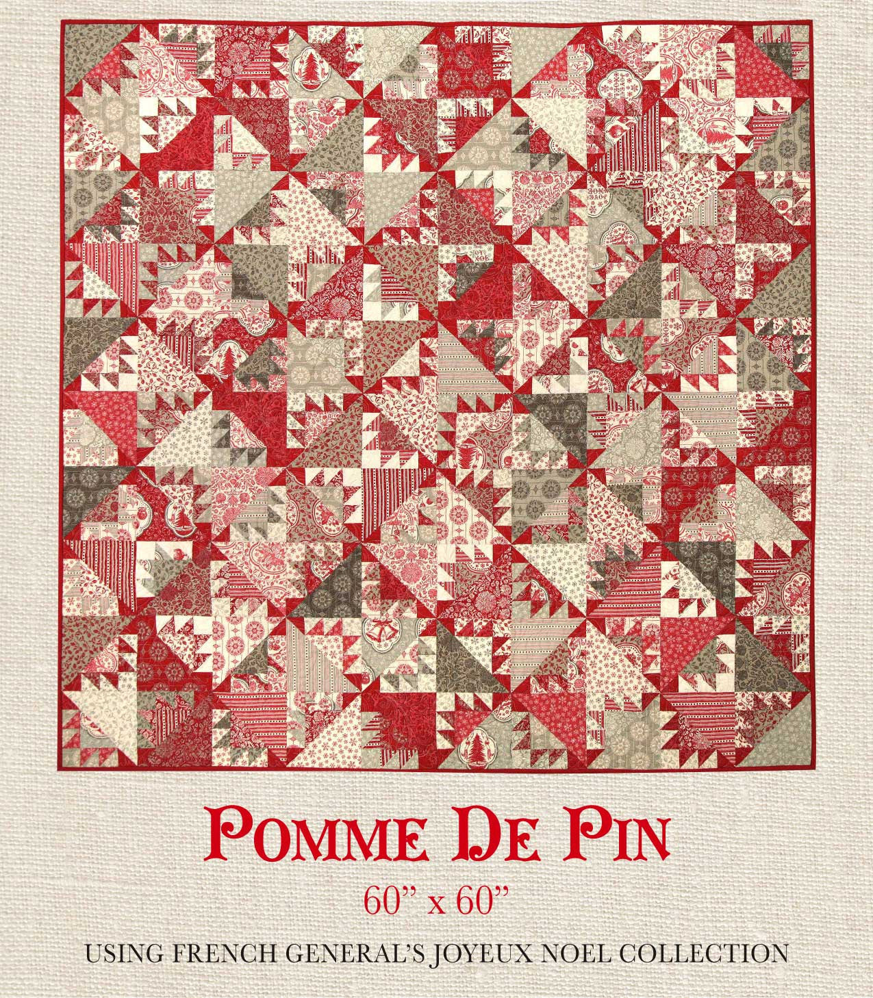 joyeux noel pomme de pin quilt pattern french general. Black Bedroom Furniture Sets. Home Design Ideas