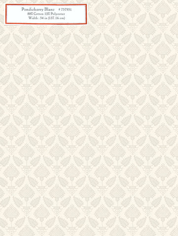 Home Decorative Fabric - Pondicherry Blanc