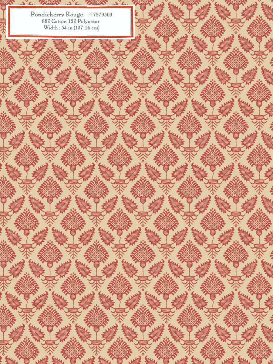Home Decorative Fabric - Pondicherry Rouge