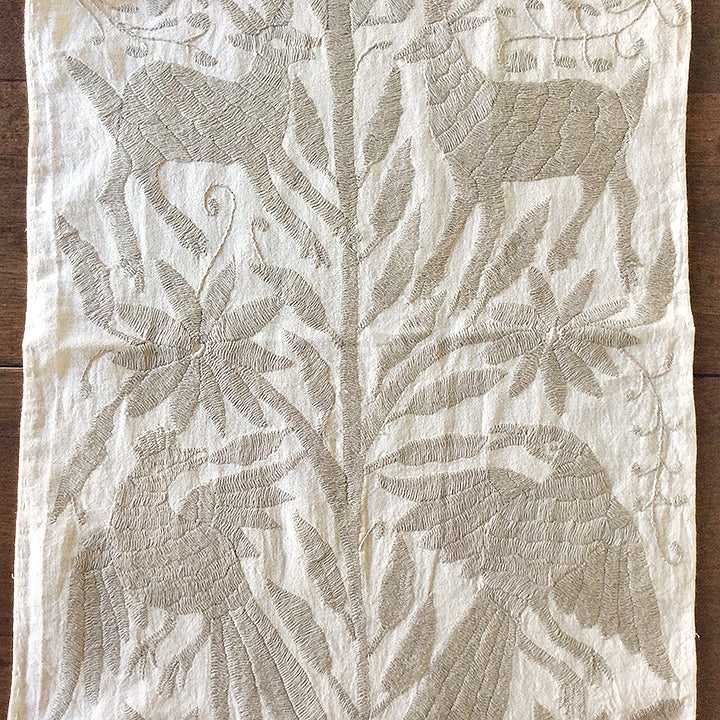 Beige Otomi Embroidered Cloth