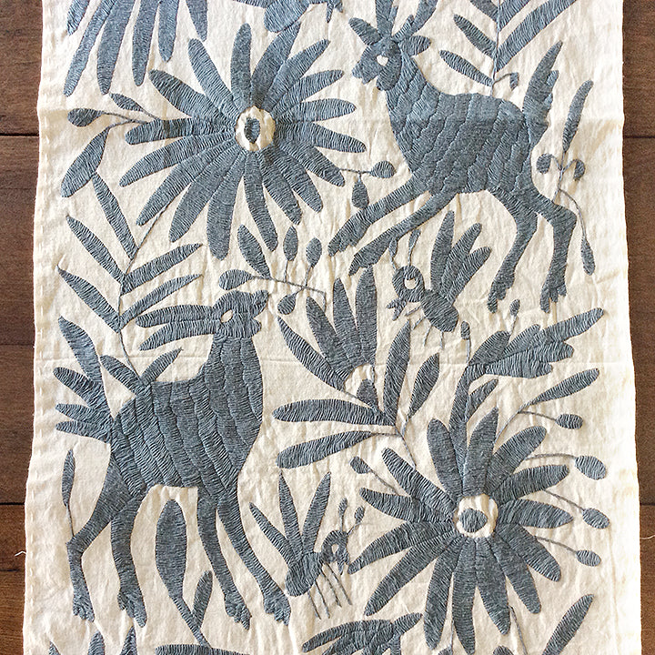 Grey Otomi II Embroidered Cloth