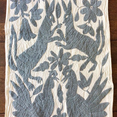 Grey Otomi Embroidered Cloth