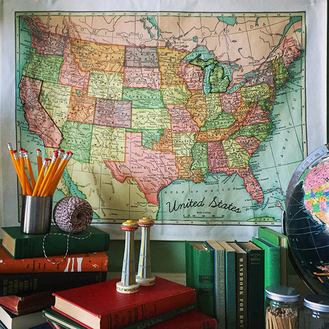 United States Wall Map Embroidery Sampler