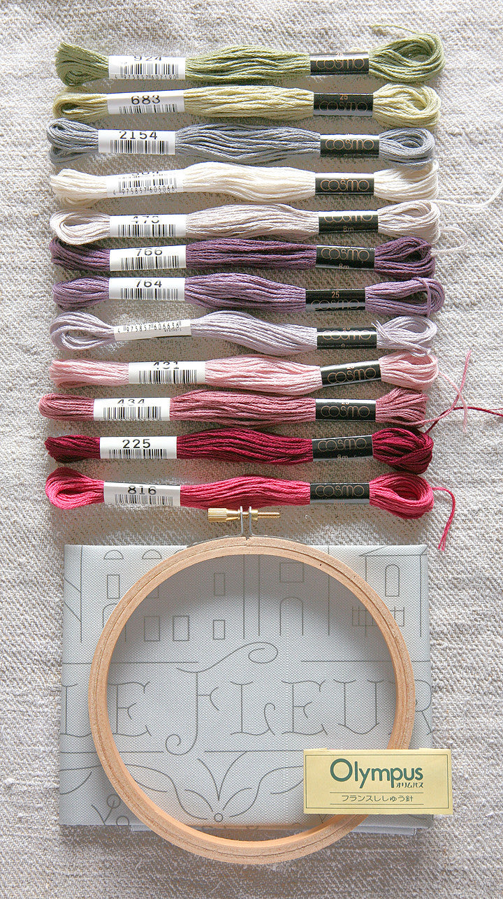 Embroidery Sampler and Floss Kit - Ville Fleurie