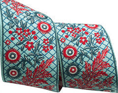 Renaissance Ribbon - Blue/Red Floral / 2 yards