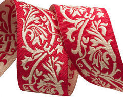 Renaissance Ribbon - Red Scroll / 4 yards