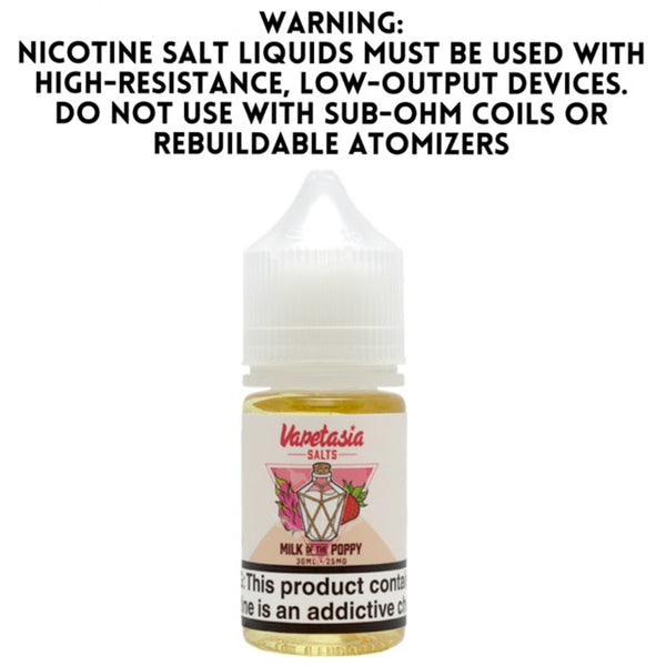 VAPETASIA SALTS – MILK OF THE POPPY (30ML)