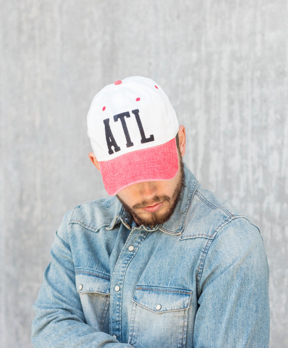 ATL baseball hat in White with Red bill and Black felt