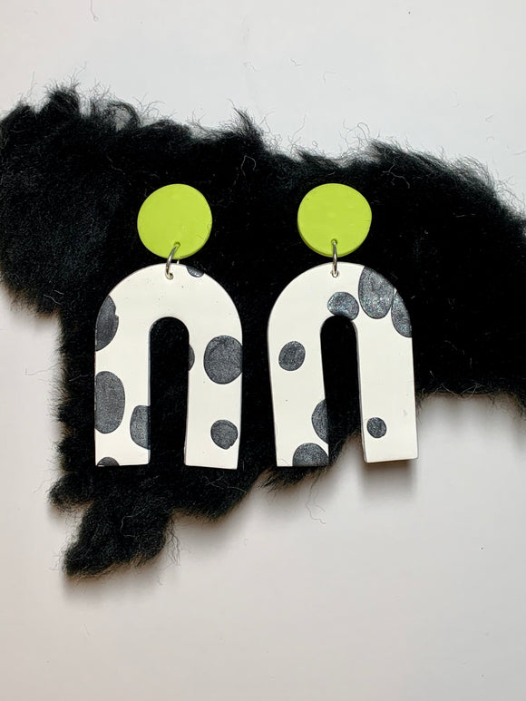 Lime green cow print earrings