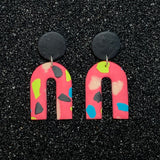 Pink Terrazzo Arch Clay Earrings