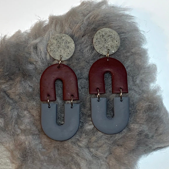 Burgundy and Grey Earrings
