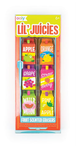Lil Juices Fruit Scented Erasers Set of 6