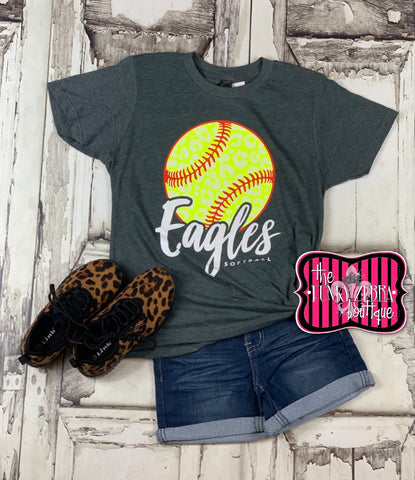 Eagles Softball Kids Tee Size 2/3, 4/5, 6/8, 10/12, 12/14