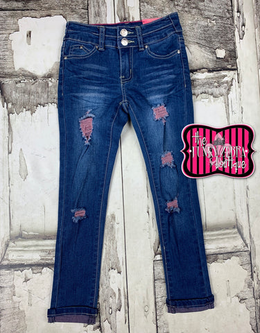 Indigo Pink Thread Distressed Jeans [Capris] Size 7, 8, 10, 12, 14