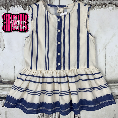 Lyra Blue Stripes Dress Size 2T, 3/4, 7/8