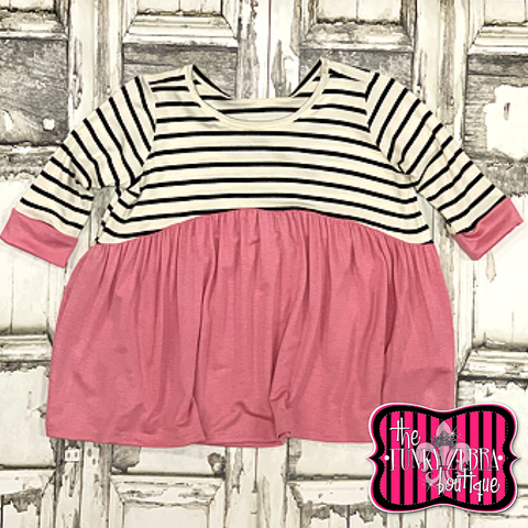 Toddler Babydoll Stripe Top in Rose Size 2T, 3T, 4T