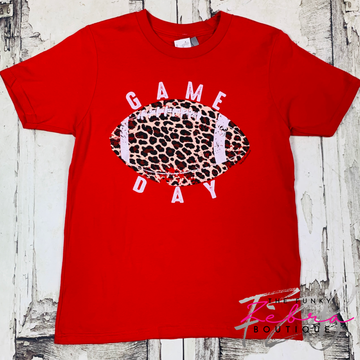 [SALE] GAME DAY Leopard Football [RED] Tee 🏈 Size 8, 10/12, 14/16